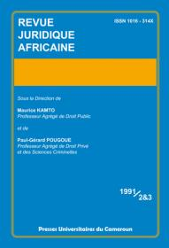 Revue Juridique Africaine 1991/2&3