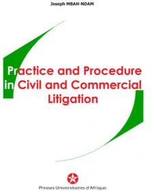 Cover : Practice and pocedure in civil and commecial litigation