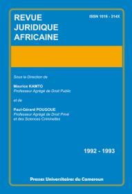 Revue Juridique Africaine 1992/1993
