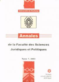 Annales de la faculté des sciences juridiques et politiques tome 7