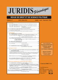 Couverture : Juridis N° : 47