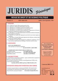 Couverture : Juridis N° : 55