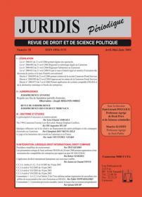 Couverture : Juridis N° : 58