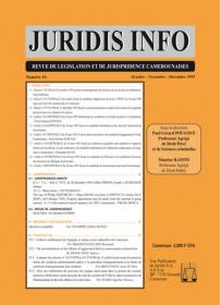 Couverture : Juridis N° : 16