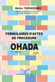 Couverture : Formulaires d'actes de procédure OHADA