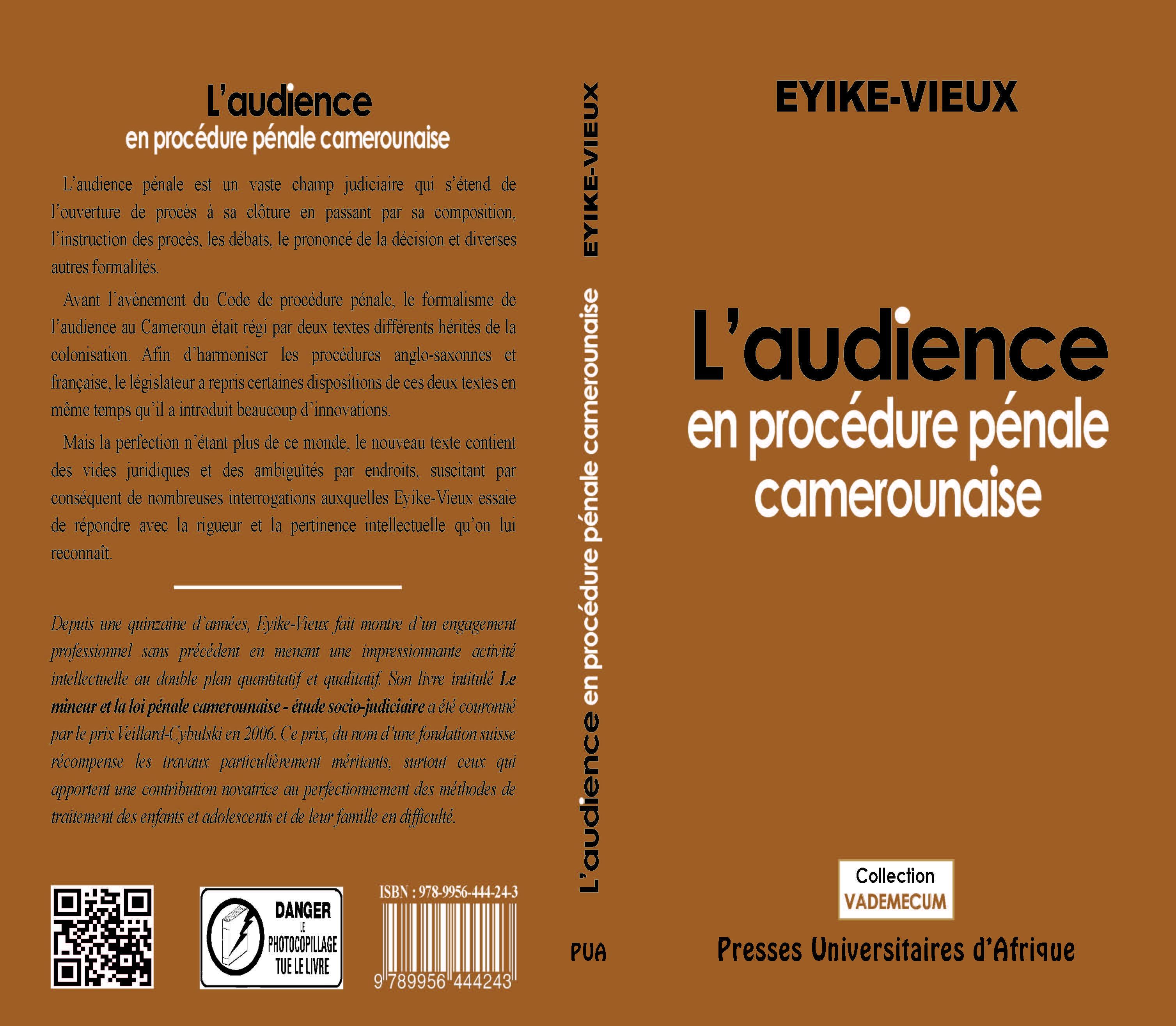 Couverture L'audience en procédure pénale camerounaise